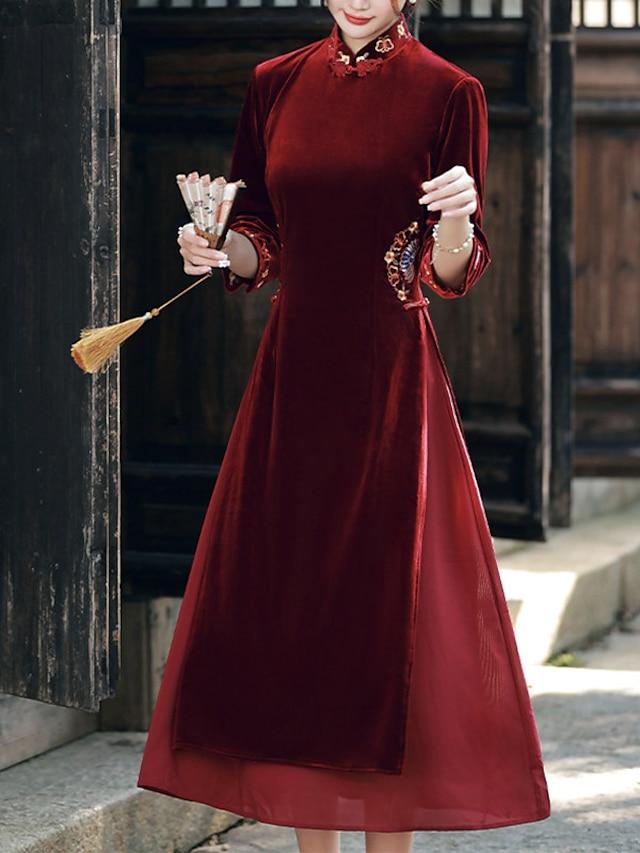 Sheath / Column Mother of the Bride Dress Elegant Vintage High Neck Ankle Length Velvet 3/4 Length Sleeve with Embroidery 2021