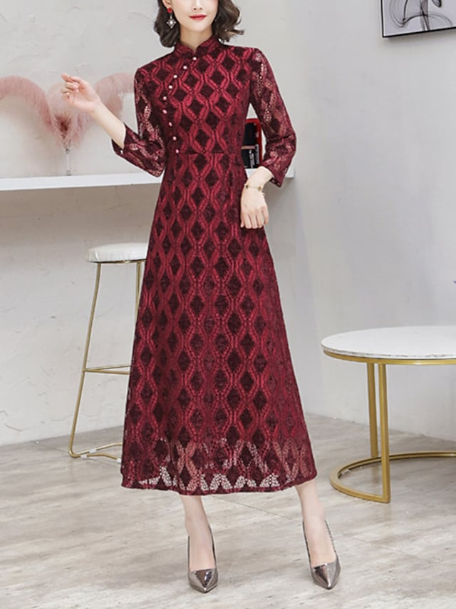 A-Line Mother of the Bride Dress Elegant Vintage High Neck Tea Length Lace 3/4 Length Sleeve with Sequin 2021