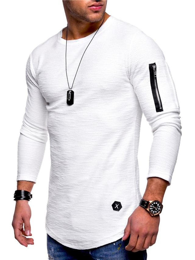 Men's T shirt Solid Color Long Sleeve Casual Tops Lightweight Fashion Slim Fit Big and Tall Gray Green White