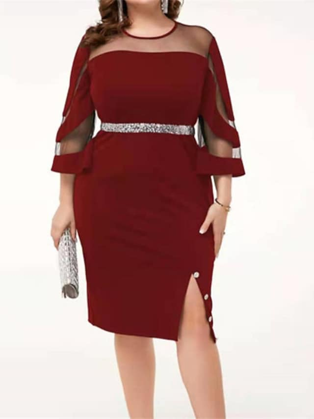 Women's Plus Size Dress A Line Dress Maxi long Dress 3/4 Length Sleeve Solid Color Split Casual Fall Wine Blue Black L XL XXL