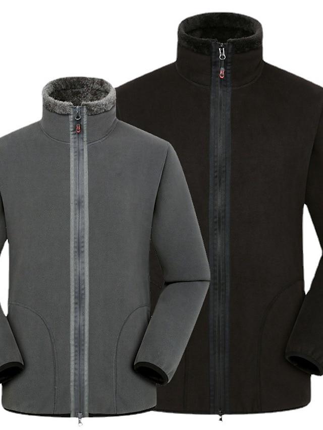 Men's Polar Fleece Street Daily Going out Fall Winter Regular Coat Regular Fit Warm Breathable Sporty Casual Streetwear Jacket Long Sleeve Solid Color Pocket Dark Grey Royal Blue Black