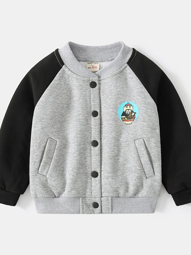 Toddler Boys' Coat Long Sleeve Gray Plain Pocket Patchwork Street Vacation Active Basic 2-6 Years
