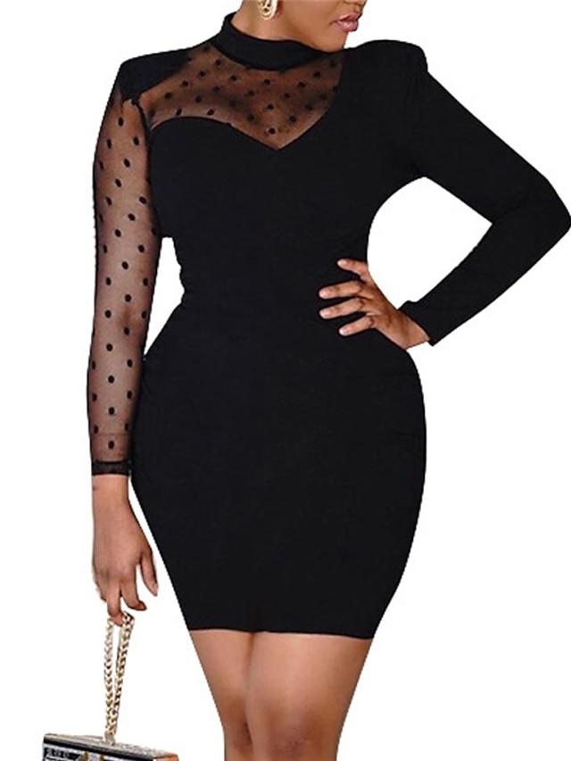 Women's Sheath Dress Short Mini Dress Black Long Sleeve Polka Dot Patchwork Fall Turtleneck Casual Sexy 2021 M L XL
