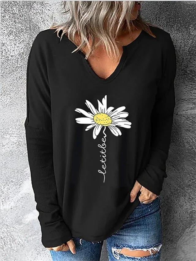 Women's T shirt Flower Patchwork Print V Neck Basic Tops Black