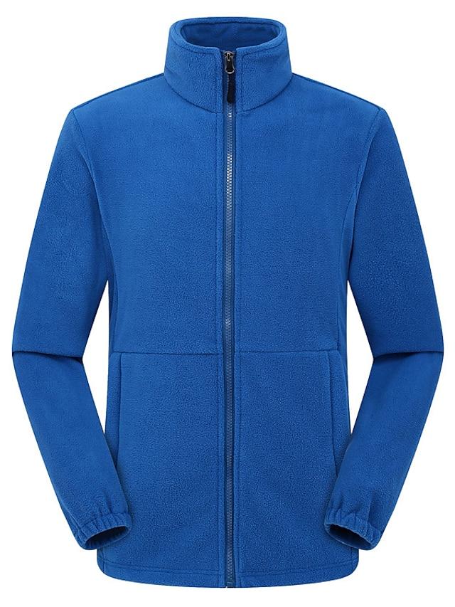 Men's Polar Fleece Street Daily Going out Fall Winter Regular Coat Regular Fit Warm Breathable Sporty Casual Streetwear Jacket Long Sleeve Solid Color Pocket Blue Royal Blue Black