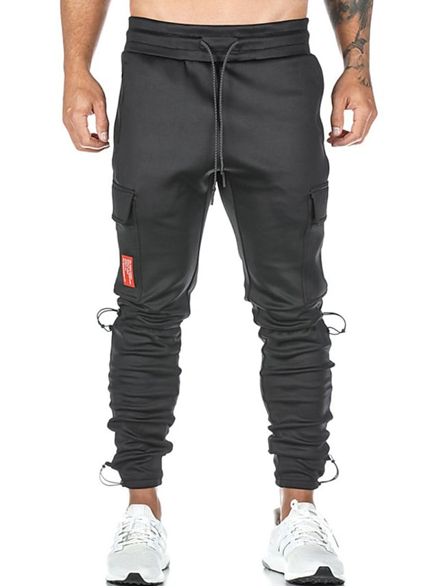 Men's Sports & Outdoors Streetwear Outdoor Sports Jogger Tactical Cargo Casual Daily Pants Solid Color Full Length Drawstring Pocket Grey Black