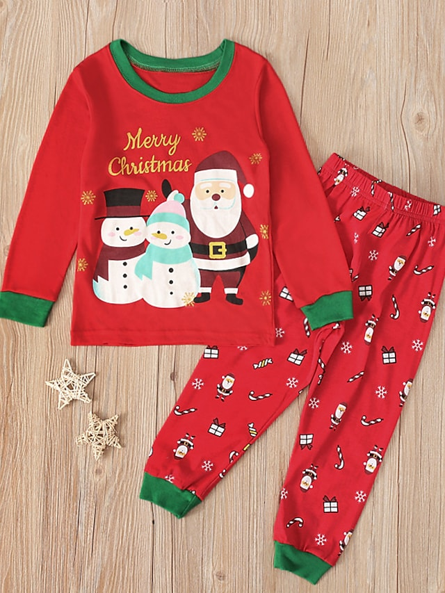 Toddler Boys' Christmas Clothing Set 2 Pieces Long Sleeve Red Santa Claus Snowman Letter Print Indoor Vacation Casual Daily 1-5 Years