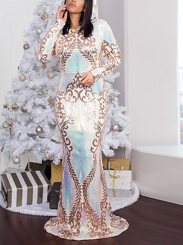 Women's Sheath Dress Maxi long Dress White Long Sleeve Floral Sequins Fall Round Neck Elegant Casual 2021 S M L XL XXL / Party Dress
