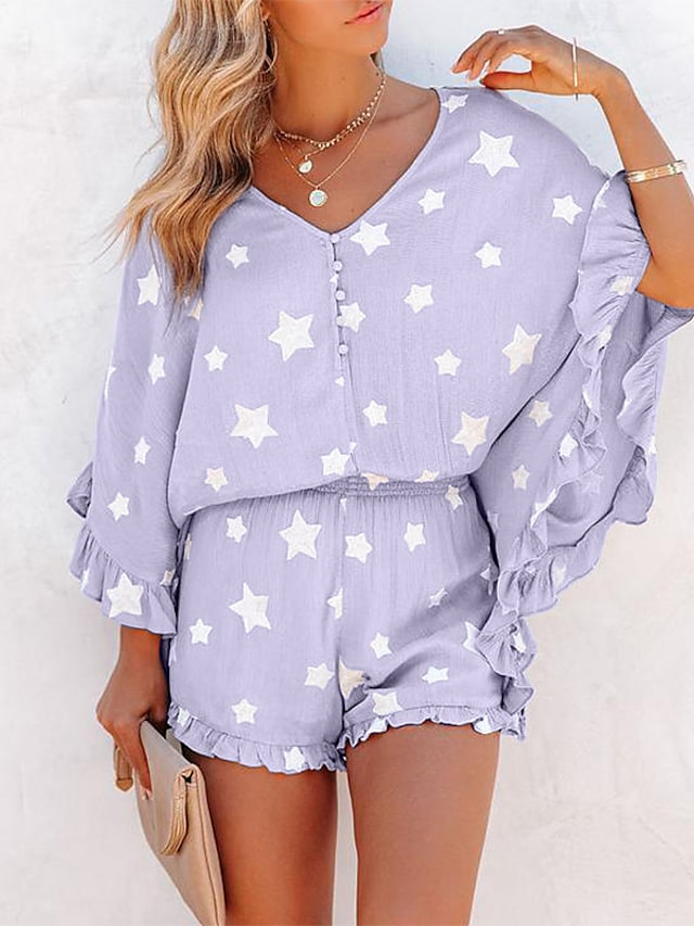 Women's Warm Breathable Suits Loungewear Home Daily Bed Basic Print Star Polyester Sweet Shorts Winter V Wire Short Pant