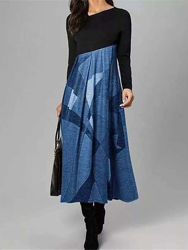 Women's A Line Dress Midi Dress Blue Yellow Long Sleeve Color Block Print Fall V Neck Casual 2021 S M L XL XXL 3XL