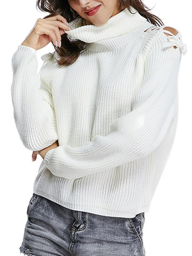 Women's Pullover Sweater Jumper Knitted Hole Solid Color Stylish Basic Casual Long Sleeve Sweater Cardigans Turtleneck Fall Winter White