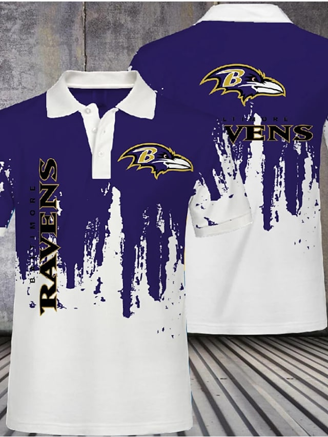 Men's Golf Shirt Eagle Letter Animal Button-Down Print Short Sleeve Casual Tops Casual Fashion Cool Breathable Purple