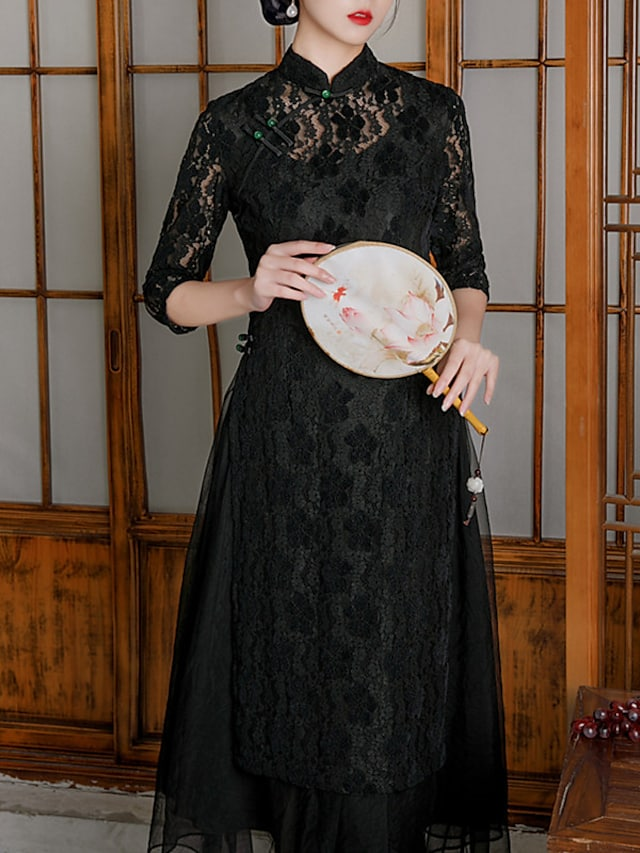Sheath / Column Mother of the Bride Dress Elegant Vintage High Neck Tea Length Lace 3/4 Length Sleeve with Buttons 2021
