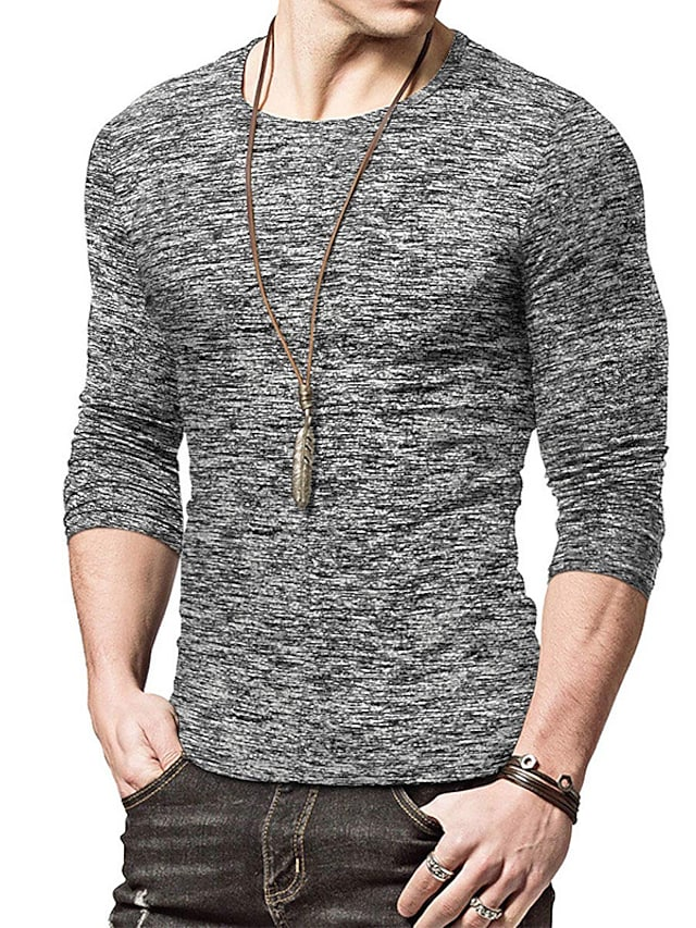 Men's T shirt Solid Color Long Sleeve Casual Tops Lightweight Fashion Slim Fit Big and Tall Blue Gray Green