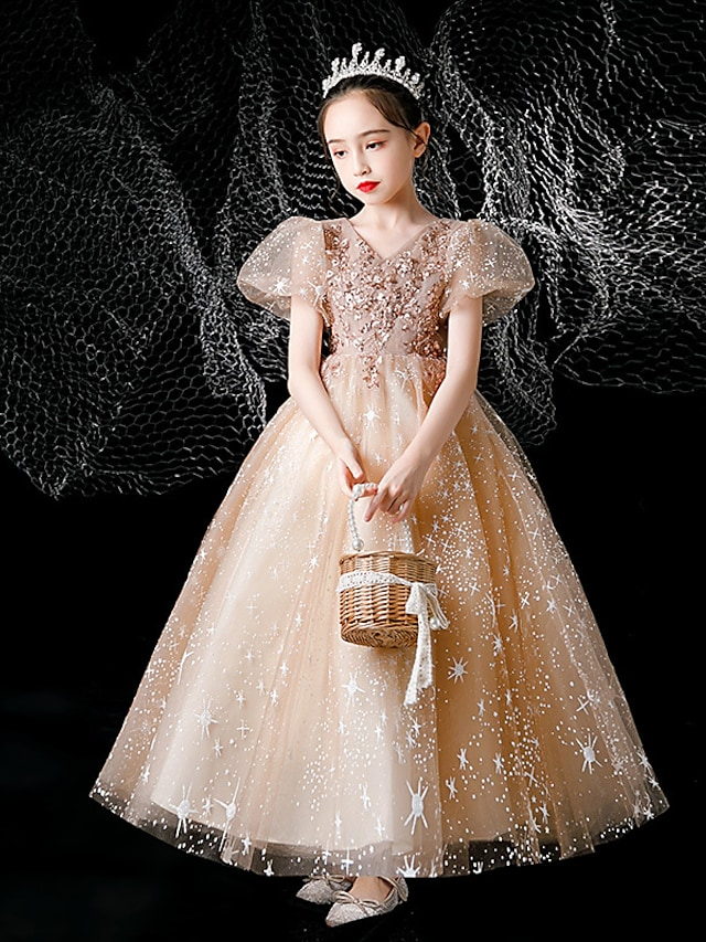 Princess Ankle Length Flower Girl Dresses Party Tulle Short Sleeve V Neck with Beading