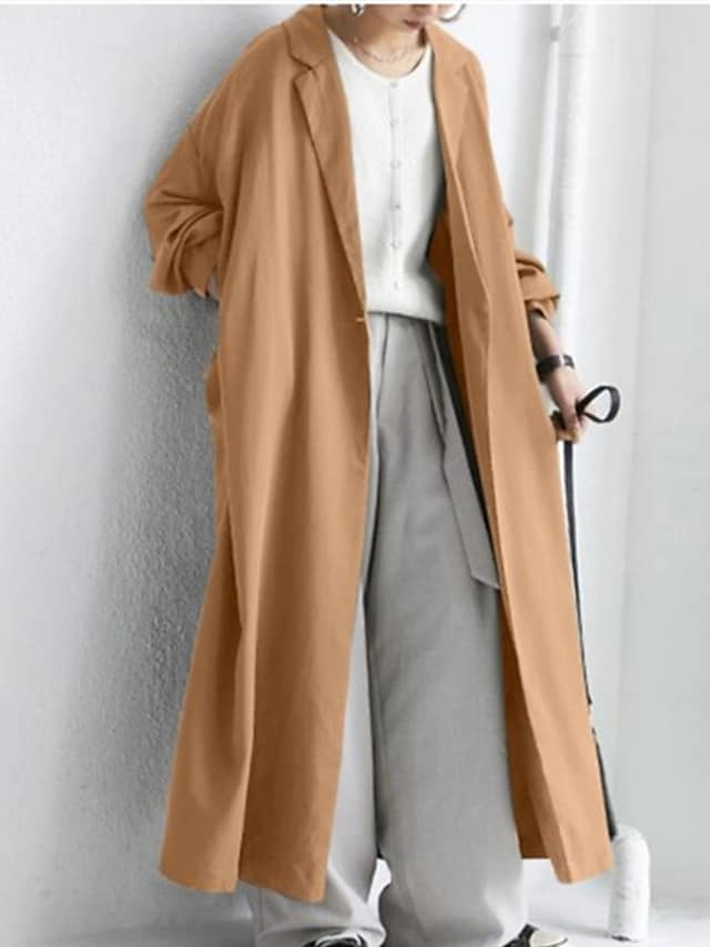 Women's Trench Coat Street Daily Going out Fall Winter Long Coat Regular Fit Breathable Casual Jacket Long Sleeve Plain Pocket Khaki Green Black