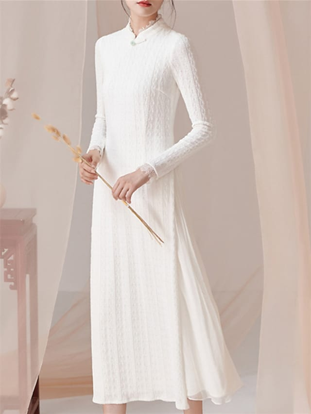 Sheath / Column Mother of the Bride Dress Vintage High Neck Ankle Length Lace Long Sleeve with Solid Color 2021