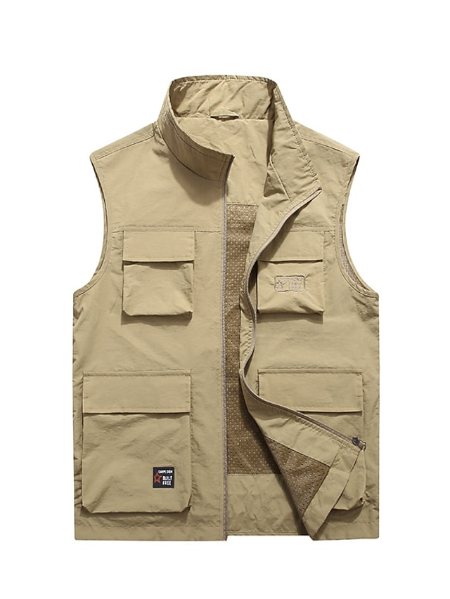 Men's Vest Gilet Street Daily Going out Fall Spring Regular Coat Regular Fit Windproof Breathable Sporty Casual Streetwear Jacket Sleeveless Solid Color Full Zip Pocket Army Green Khaki Dusty Blue