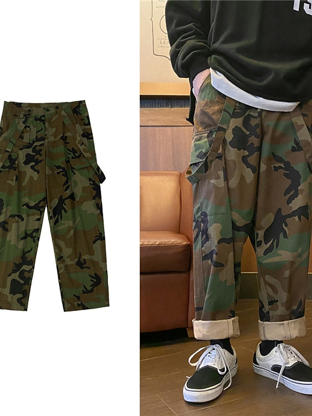 Men's Sports & Outdoors Streetwear Outdoor Sports Chinos Tactical Cargo Casual Daily Pants Camouflage Full Length Pocket Camouflage Black