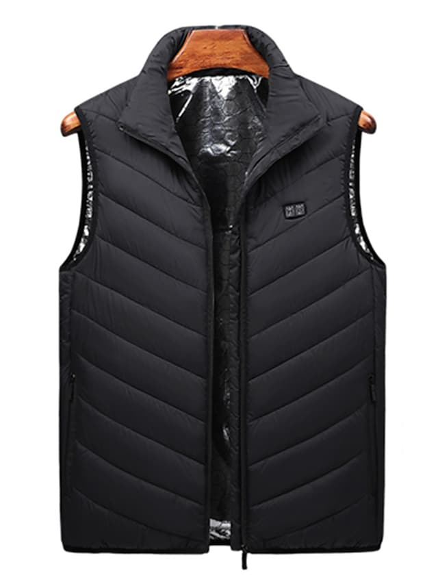 Men's Vest Gilet Street Daily Going out Fall Winter Regular Coat Regular Fit Windproof Warm Breathable Sporty Casual Streetwear Jacket Sleeveless Solid Color Full Zip Pocket Blue Black