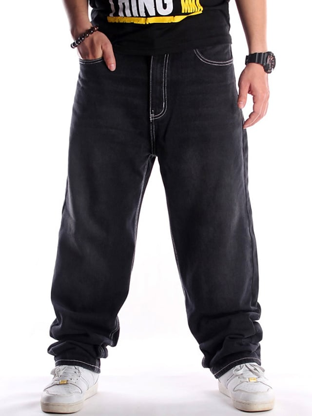 Men's Stylish Casual Comfort Outdoor Pants Jeans Casual Daily Pants Solid Color Full Length Pocket Black