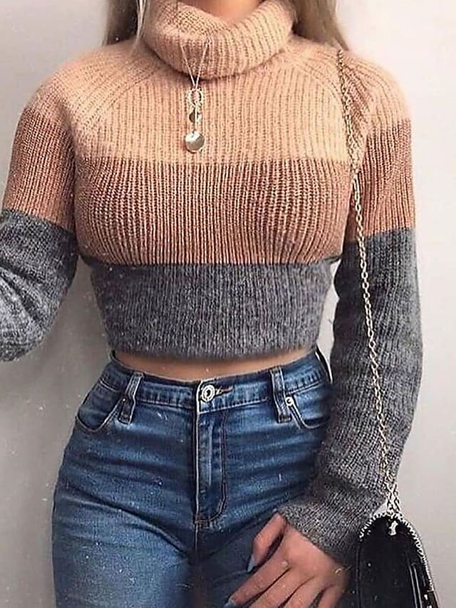 Women's Pullover Sweater Cropped  Sweater Knitted Color Block Stylish Casual Soft Long Sleeve Sweater Cardigans Turtleneck Fall Winter Khaki / Jumper