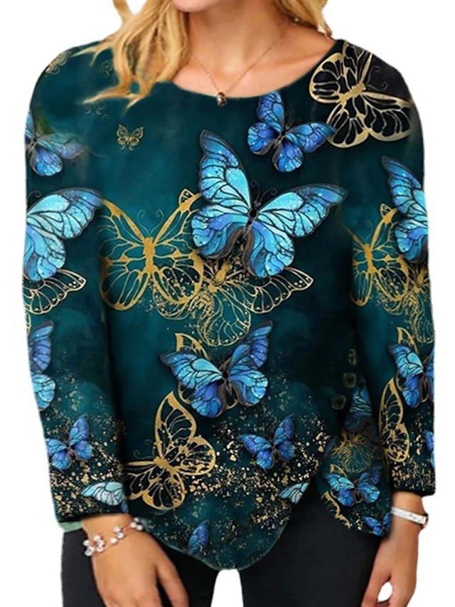 Women's Plus Size Tops Blouse Shirt Butterfly Animal Asymmetric Print Long Sleeve Crewneck Streetwear Daily Weekend Polyster Fall Blue Fuchsia