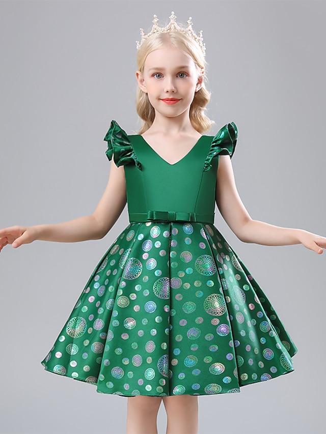 Kids Little Girls' Dress Polka Dot Tank Dress School Performance Ruched Print Green Red Navy Blue Cotton Knee-length Sleeveless Princess Sweet Dresses Spring Summer Regular Fit 3-12 Years