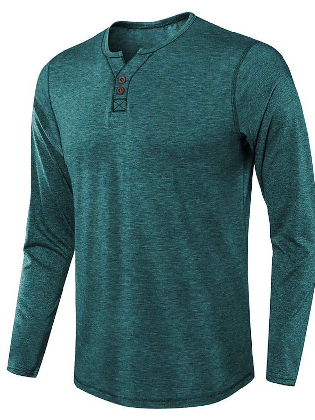 Men's T shirt Solid Color Button-Down Long Sleeve Casual Tops Lightweight Fashion Slim Fit Big and Tall Blue Light Brown Gray