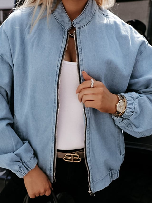 Women's Jacket Street Daily Going out Fall Winter Regular Coat Regular Fit Warm Breathable Casual Streetwear Jacket Long Sleeve Plain Full Zip Pocket Blue