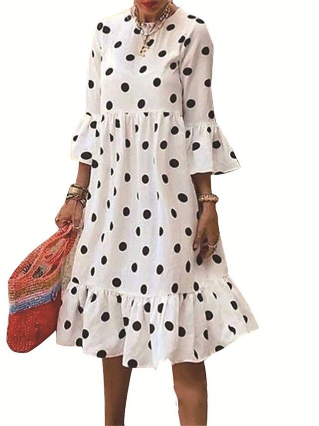 Women's A Line Dress Knee Length Dress White 3/4 Length Sleeve Polka Dot Ruffle Fall Round Neck Casual 2021 S M L XL XXL 3XL