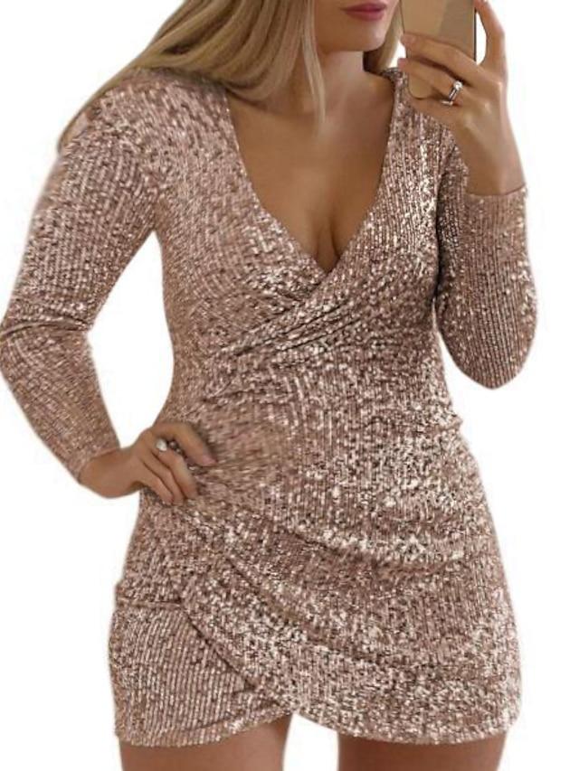 Women's Plus Size Dress Sheath Dress Short Mini Dress Long Sleeve Solid Color Sequins Casual Fall Wine Purple Blushing Pink L XL XXL 3XL / Party Dress