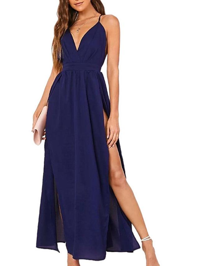 Women's A Line Dress Maxi long Dress Royal Blue Black Red Sleeveless Solid Color Backless Split Summer V Neck Sexy 2021 S M L XL