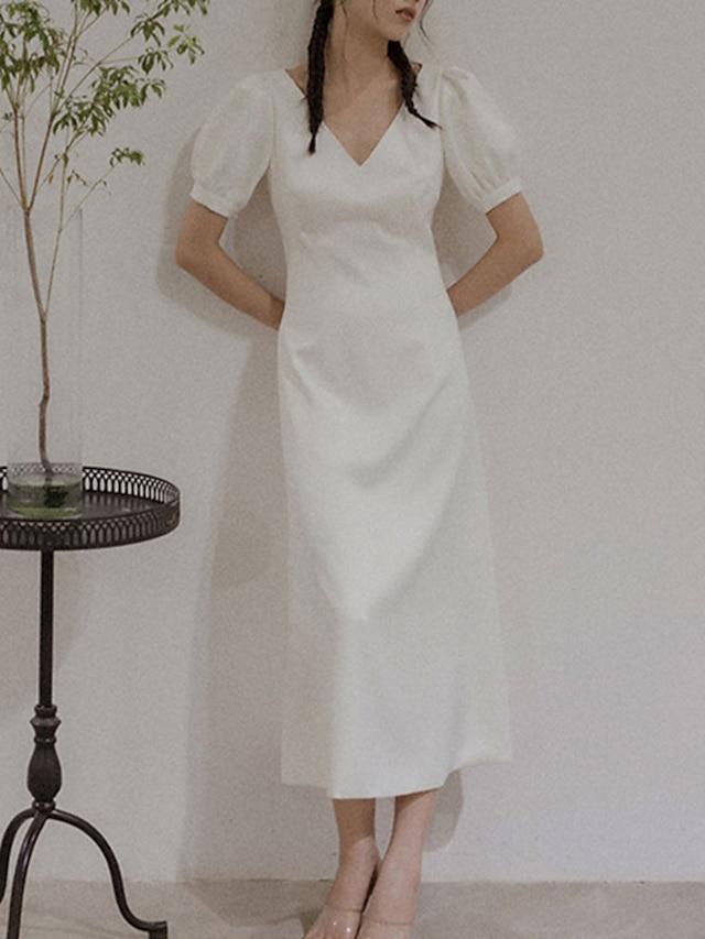 Sheath / Column Wedding Dresses V Neck Tea Length Satin Short Sleeve Simple Vintage Little White Dress 1950s with Solid Color 2021