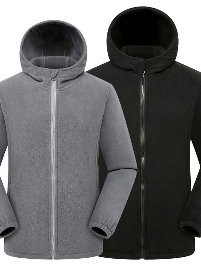 Men's Polar Fleece Street Daily Going out Fall Winter Regular Coat Regular Fit Warm Breathable Sporty Casual Streetwear Jacket Long Sleeve Letter Pocket Gray Black Navy Blue