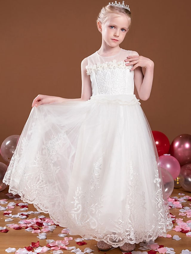 Princess Ankle Length Flower Girl Dresses Party Tulle Sleeveless Jewel Neck with Beading