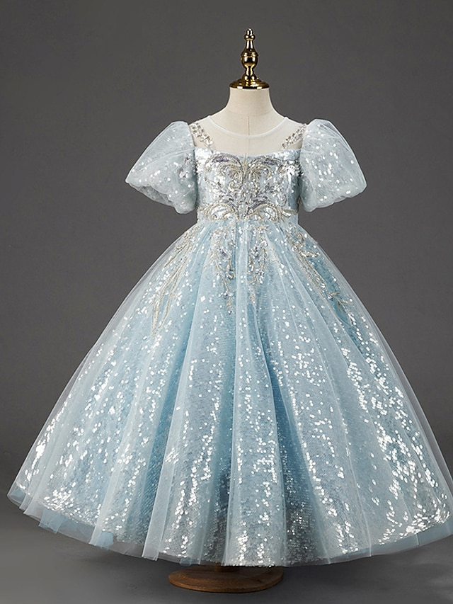 Princess Floor Length Flower Girl Dresses Party Tulle Short Sleeve Jewel Neck with Paillette