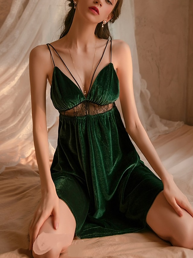 Women's Pajamas Nightgown Home Daily Bed Hole Pure Color Nylon Plush Luxury Soft Fall Winter Straps Sleeveless Not Specified