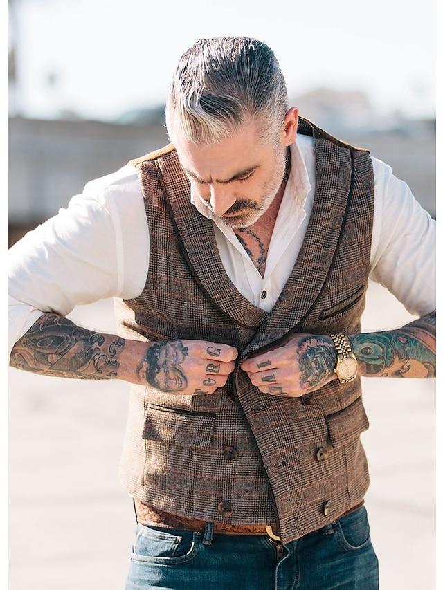 Men's Vest Gilet Party Daily Fall Winter Regular Coat Regular Fit Windproof Warm Streetwear Military Style Jacket Sleeveless Hot Stamping Plain Pocket Light gray Dark Gray Coffee