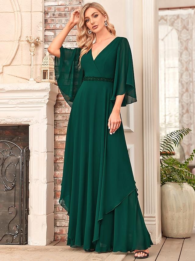 A-Line Mother of the Bride Dress Elegant V Neck Floor Length Chiffon Half Sleeve with Sash / Ribbon 2021