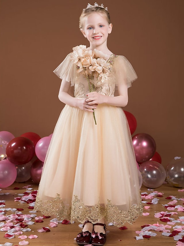 Princess Ankle Length Flower Girl Dresses Party Satin Short Sleeve Square Neck with Lace