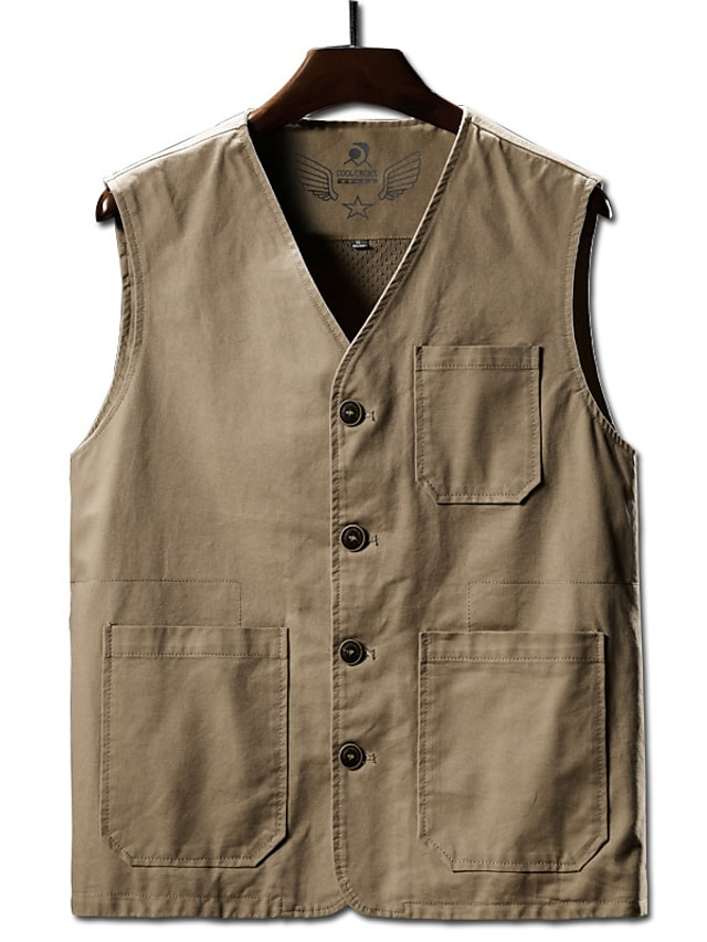 Men's Vest Gilet Street Daily Going out Fall Spring Regular Coat Regular Fit Windproof Breathable Sporty Casual Streetwear Jacket Sleeveless Solid Color Full Zip Pocket Army Green Khaki Black