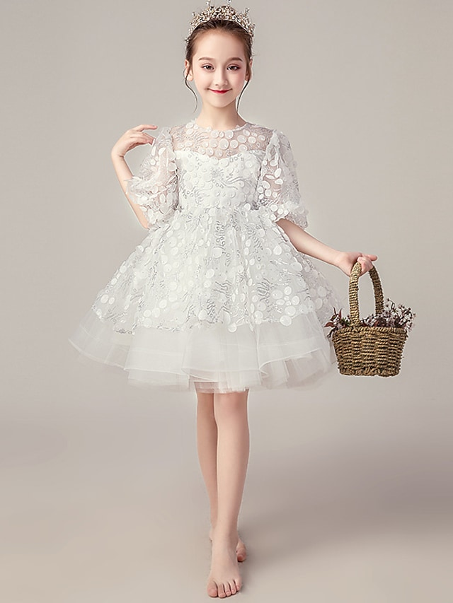 Princess Knee Length Flower Girl Dresses Party Organza Half Sleeve Jewel Neck with Beading
