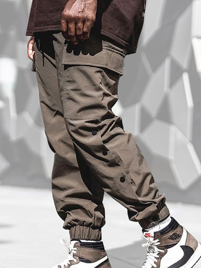 Men's Sports & Outdoors Streetwear Outdoor Sports Jogger Tactical Cargo Casual Daily Pants Solid Color Full Length Drawstring Pocket Grey Khaki Black