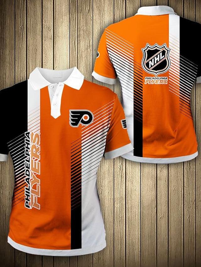Men's Golf Shirt Color Block Letter Button-Down Print Short Sleeve Casual Tops Sportswear Casual Fashion Comfortable Orange