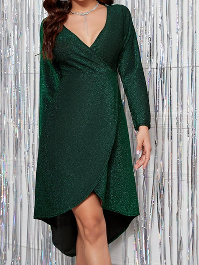 Women's A Line Dress Short Mini Dress Wine Gray Green Long Sleeve Solid Color Ruched Ruffle Fall V Neck Casual 2021 S M L XL / Party Dress