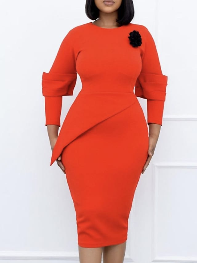 Women's Sheath Dress Knee Length Dress Orange Long Sleeve Solid Color Ruched Fall Round Neck Elegant Casual 2021 M L XL