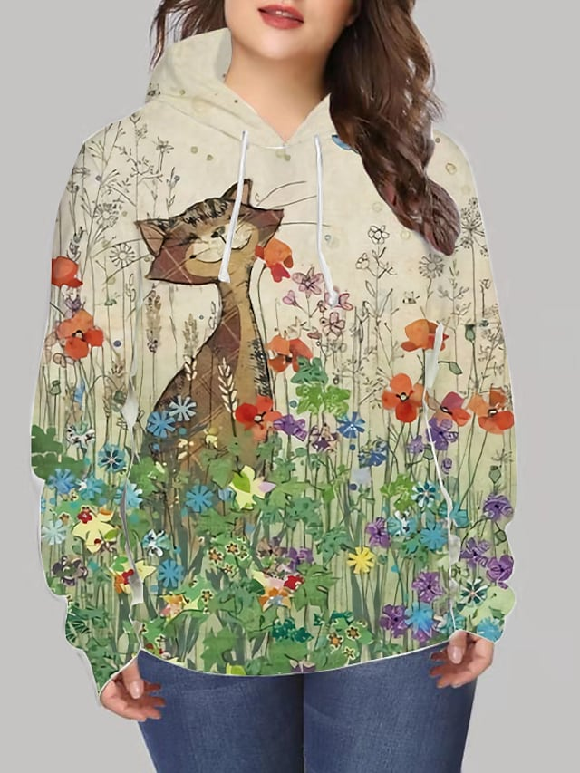 Women's Plus Size Tops Hoodie Sweatshirt Cat Graphic Print Long Sleeve V Neck Streetwear Daily Going out Spandex Winter Brown / 3D Print