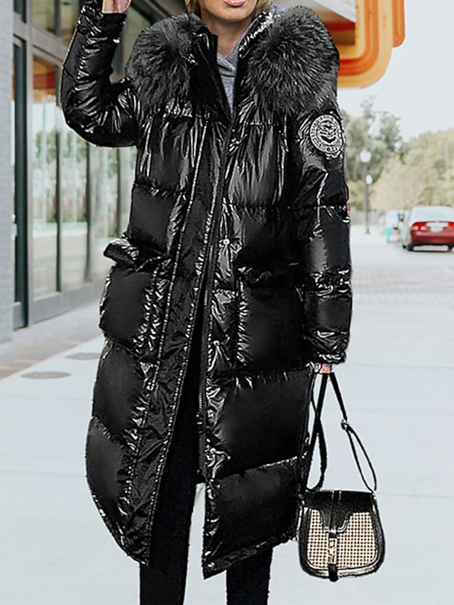 Women's Puffer Jacket Street Daily Going out Fall Winter Long Coat Regular Fit Warm Breathable Casual Jacket Long Sleeve Solid Color Fur Trim Pocket Silver Black