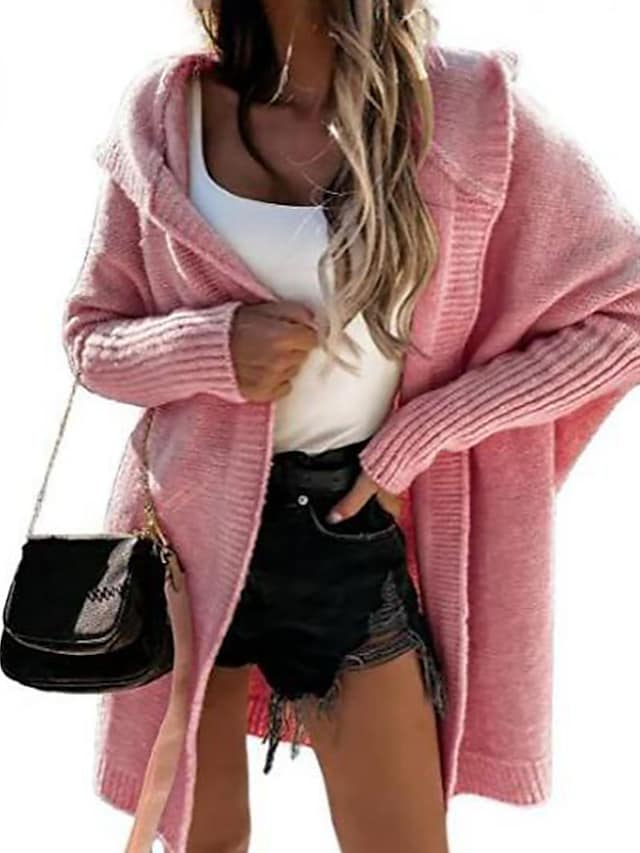 Women's Cardigan Sweater Knitted Solid Color Stylish Long Sleeve Sweater Cardigans Hooded Fall Winter Blue Blushing Pink Wine